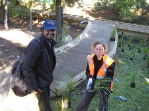 Melissa Marler, our co-ordinator - is laying out plants and welcoming Gogul Muthu